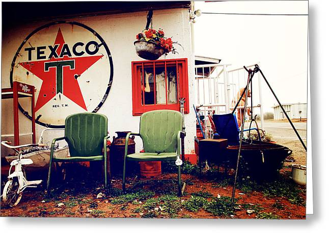 Sitting At The Texaco Greeting Card by Toni Hopper