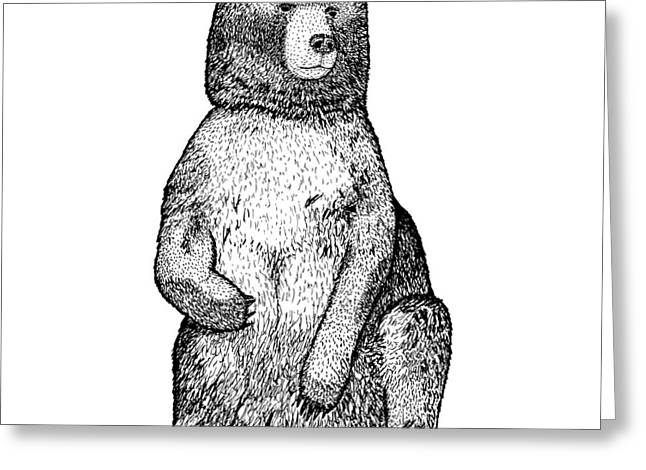 Wild Life Drawings Greeting Cards - Sitting Bear Greeting Card by Karl Addison