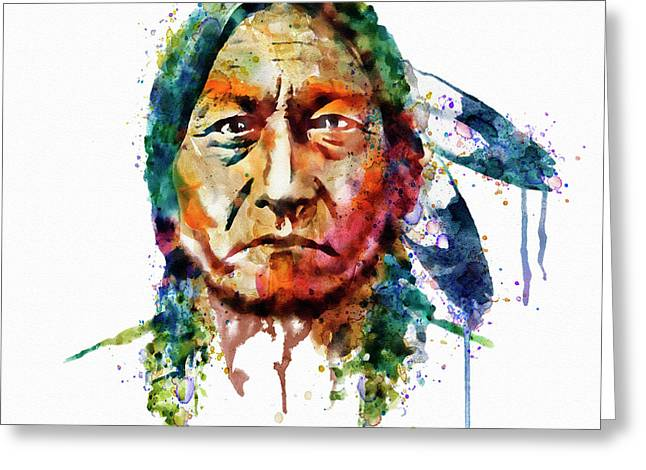Dripping Paint Greeting Cards - Sitting Bull watercolor painting Greeting Card by Marian Voicu
