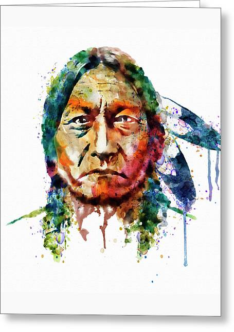 Chief Sitting Bull Greeting Cards - Sitting Bull watercolor painting Greeting Card by Marian Voicu