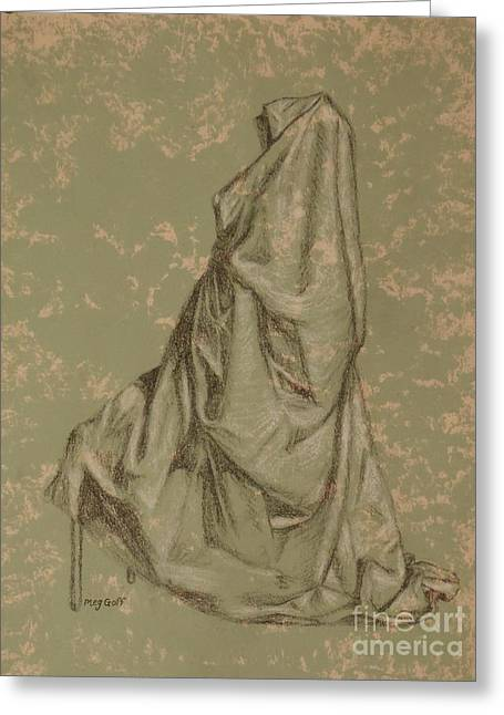 Painted Details Drawings Greeting Cards - Sitting Drapery Greeting Card by Meg Goff