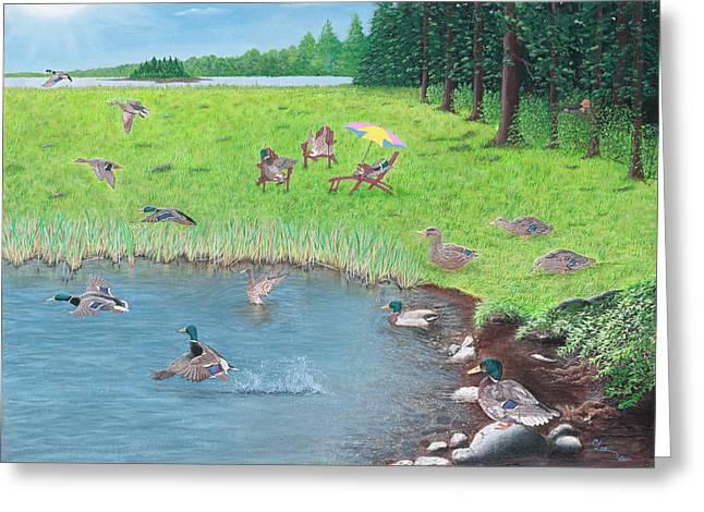 Sitting Ducks Greeting Card by Cindy Lee Longhini