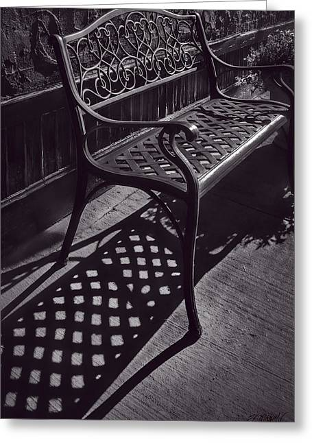 Geometric Image Greeting Cards - Sitting In The Morning Sun - Monochrome Greeting Card by F Leblanc