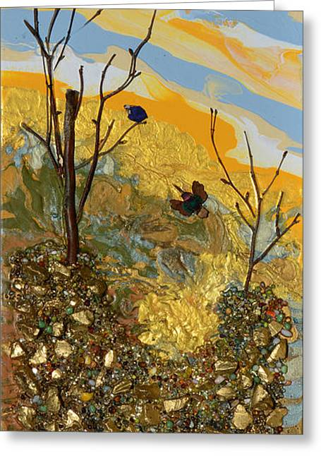 Art In Acrylic Greeting Cards - Sitting On A Gold Mine Greeting Card by Donna Blackhall