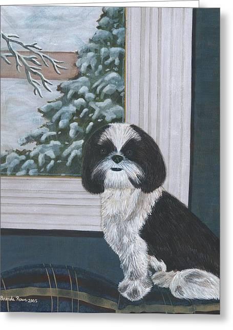 Dog In Window Greeting Cards - Sitting Pretty Greeting Card by Brenda Rowe