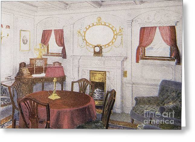 Science Collection - Greeting Cards - Sitting Room In Titanic Greeting Card by Photo Researchers