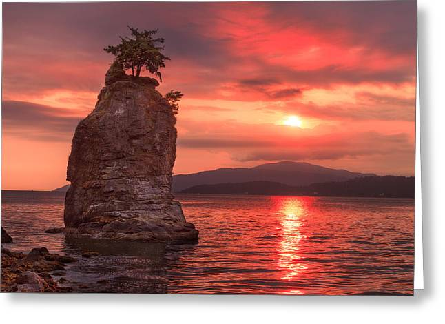 Vancouver Greeting Cards - Siwash Rock Sunset Greeting Card by Alan W