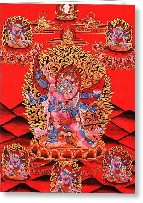 Six-armed Winged Mahakala In Yab Yum Greeting Card by Lanjee Chee