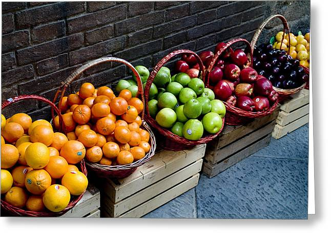 Tangerine Greeting Cards - Six Baskets Of Assorted Fresh Fruit Greeting Card by Todd Gipstein