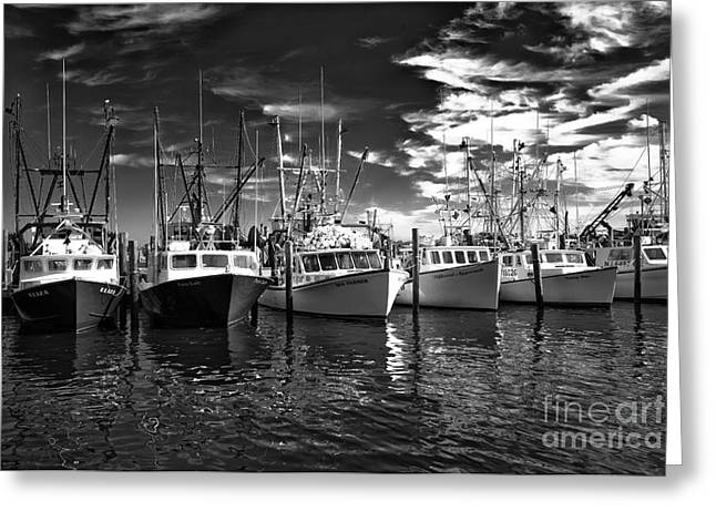 Boats In Water Greeting Cards - Six Boats in the Bay 2014 Greeting Card by John Rizzuto