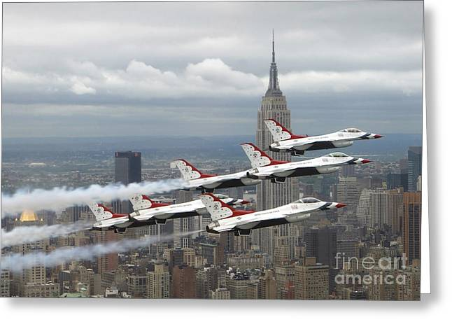 Aerobatics Greeting Cards - Six F-16 Fighting Falcons With The U.s Greeting Card by Stocktrek Images