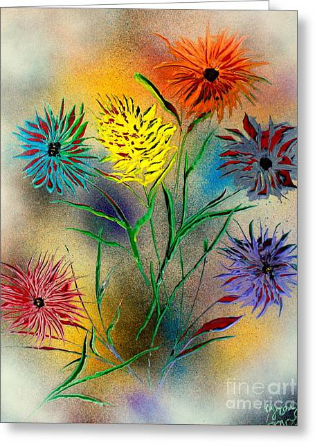 Enhanced Paintings Greeting Cards - Six Flowers - E Greeting Card by Greg Moores