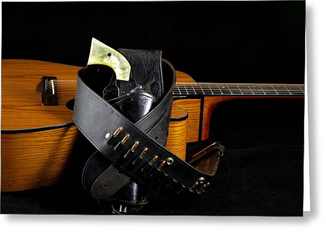 Mac K Miller Greeting Cards - Six Gun and Guitar on Black Greeting Card by M K  Miller