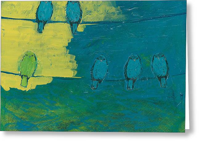 Modern Paintings Greeting Cards - Six in Waiting Break of Day Greeting Card by Jennifer Lommers