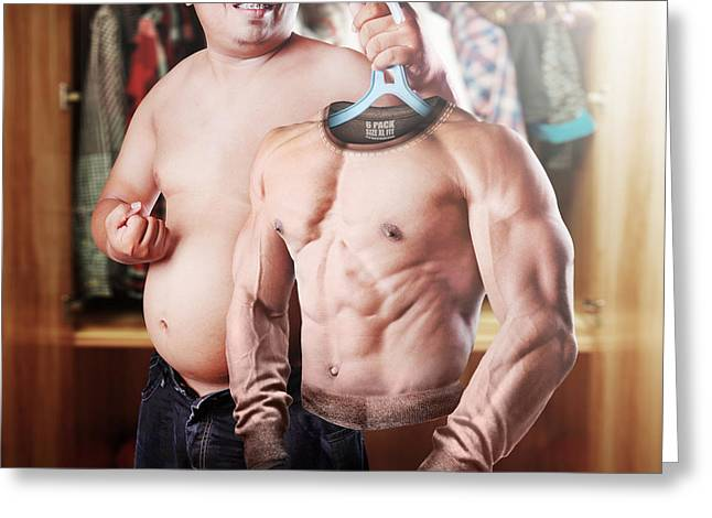 Montage Greeting Cards - Six Pack Wannabe Greeting Card by Ihdar Nur ; Dadank