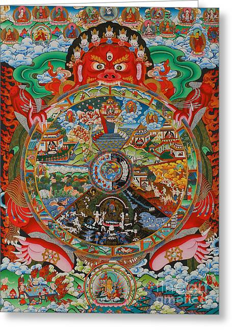 Samsara Greeting Cards - Six realms wheel of life Greeting Card by Lanjee Chee