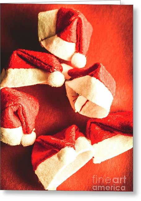 Six Santa Hats In Vintage Tone Greeting Card by Jorgo Photography - Wall Art Gallery