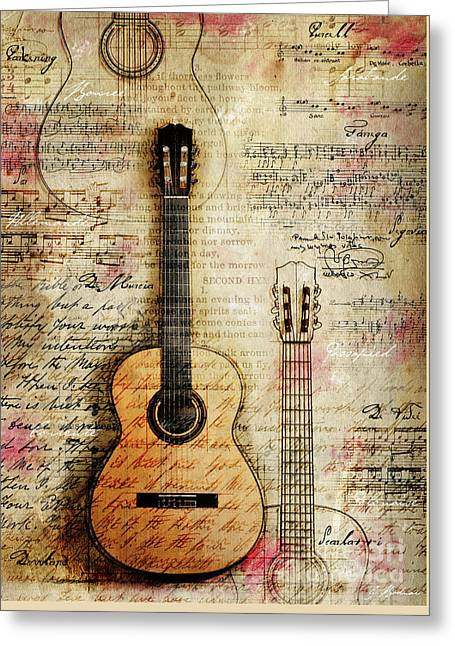 Six String Sages Greeting Card by Gary Bodnar