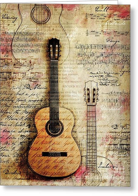 Baroque Greeting Cards - Six String Sages Greeting Card by Gary Bodnar