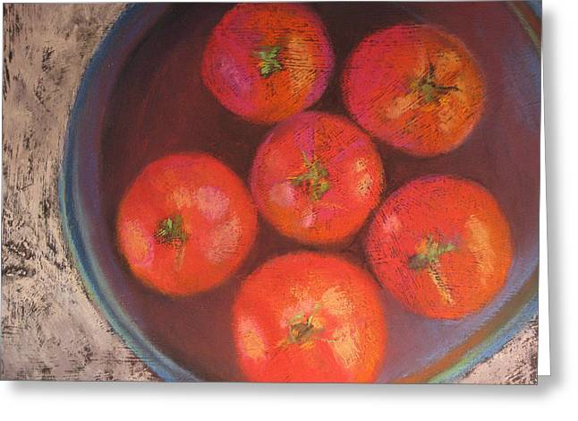 Tomato Pastels Greeting Cards - Six Tomatoes Greeting Card by Constance Gehring