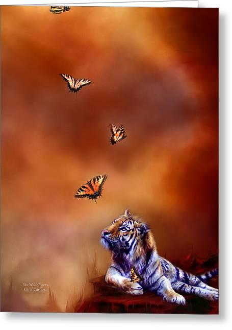 Tiger Swallowtail Greeting Cards - Six Wild Tigers Greeting Card by Carol Cavalaris