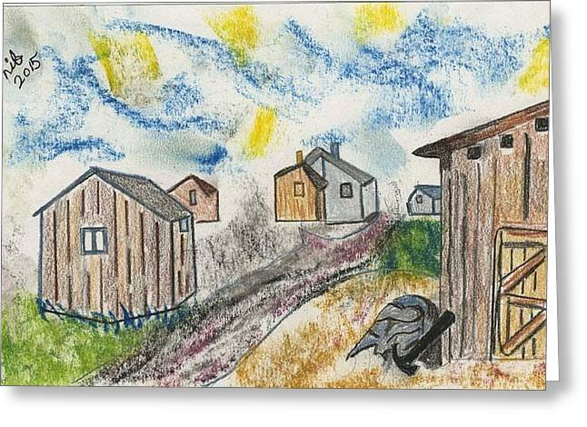 Shed Drawings Greeting Cards - Six Wooden Sheds Greeting Card by Lill Curth