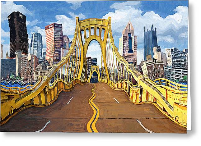 Sixth Street Bridge, Pittsburgh Greeting Card by Frank Harris