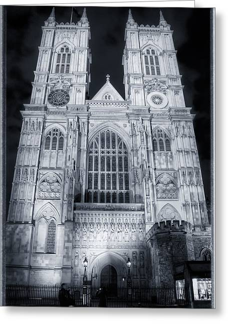 Holy Icons Greeting Cards - Westminster Abbey Night Greeting Card by Joan Carroll
