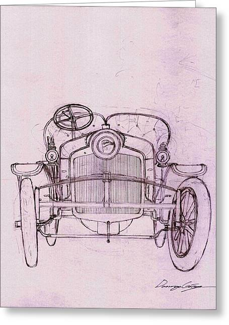 New To Vintage Drawings Greeting Cards - Sizaire et Naudin model F sketch Greeting Card by Domingo Gorriz