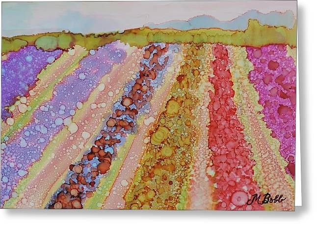 M Bobb Greeting Cards - Skagit Tulip Fields Greeting Card by Margaret Bobb