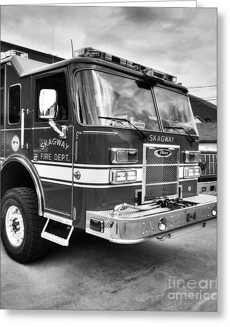 Emergency Vehicle Greeting Cards - Skagway Fire Truck BW Greeting Card by Mel Steinhauer