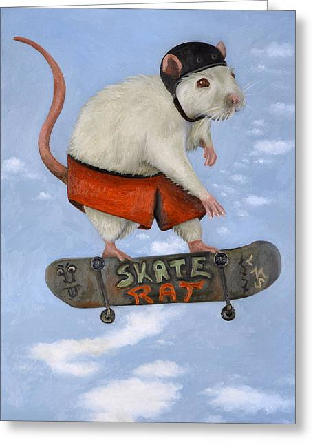 Skate Rat Greeting Card by Leah Saulnier The Painting Maniac