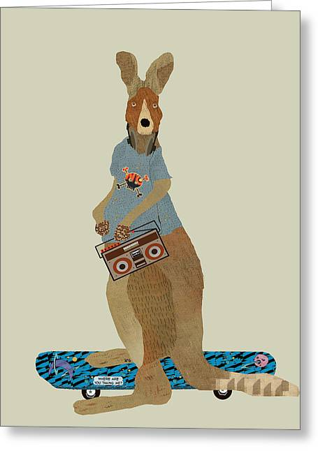 Kangaroo Digital Greeting Cards - Skatearoo Greeting Card by Bri Buckley