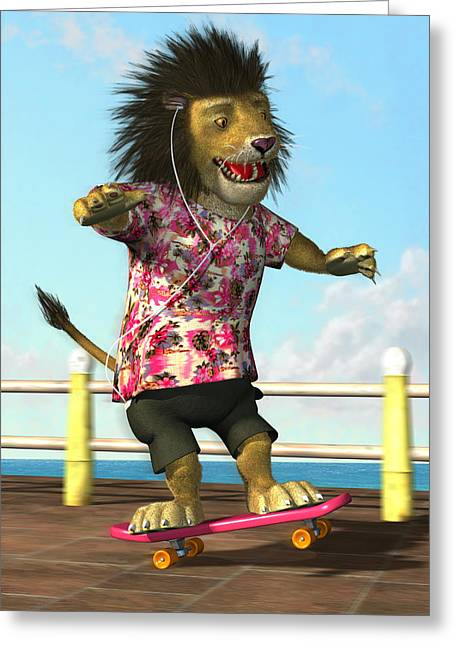 skateboarding Lion Greeting Card by Martin Davey