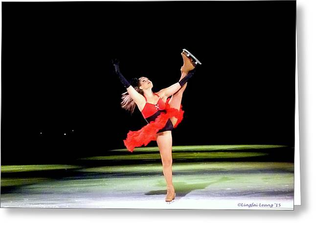 Ice-skating Greeting Cards - Skater Relive Moulin Rouge Greeting Card by Lingfai Leung