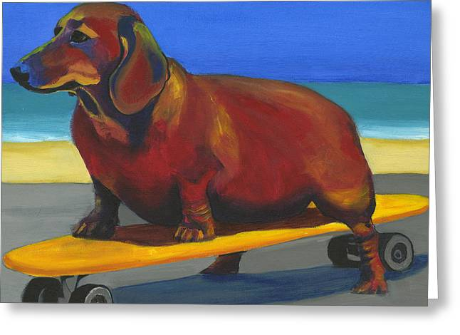 Skateboard Greeting Cards - Skaterdog Greeting Card by Debbie Brown