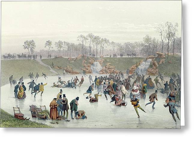 Bois Greeting Cards - Skaters on the Lake at Bois de Boulogne Greeting Card by Ice Skaters on the Lake at Bois de Boulogne