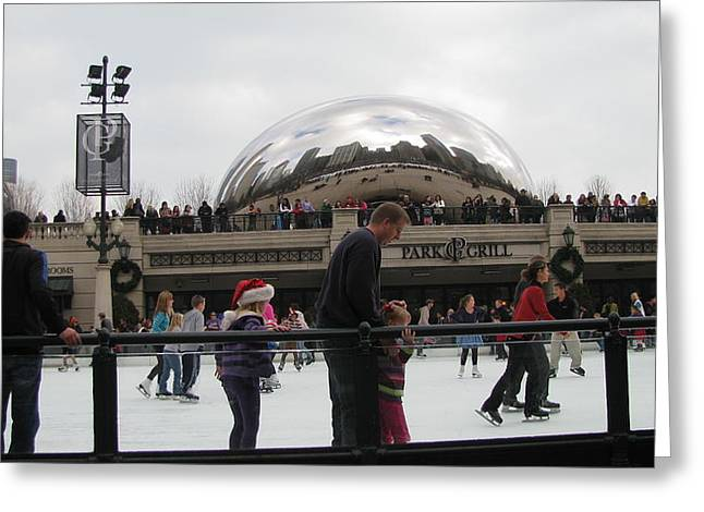 Ice-skating Greeting Cards - Skating by the Bean Sculpture Greeting Card by Elizabeth Celio