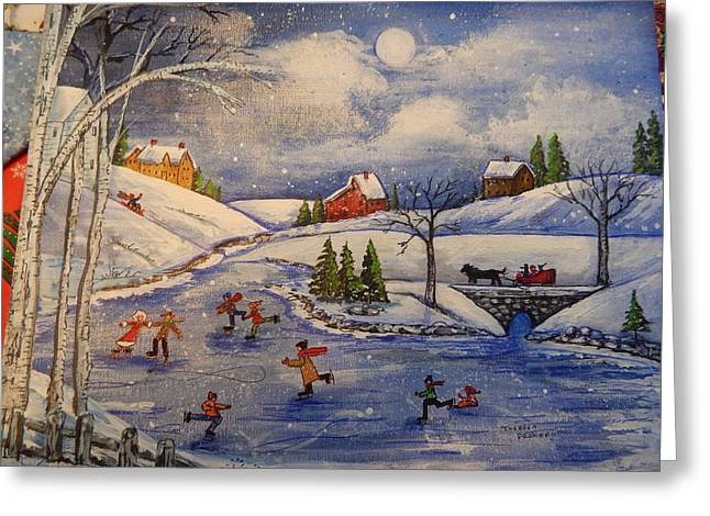 New England Village Greeting Cards - Skating Fun  Greeting Card by Theresa Prokop