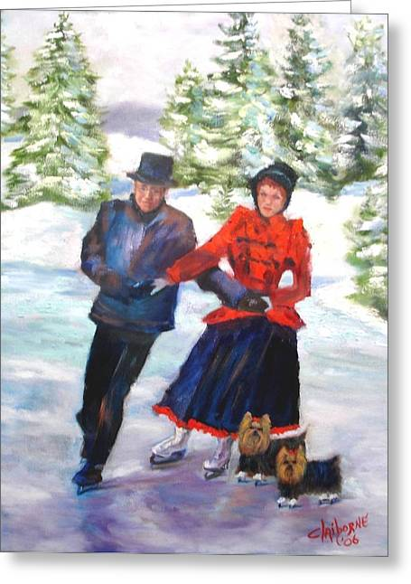 Ice-skating Greeting Cards - Skating in the Park  Greeting Card by Claiborne Hemphill-Trinklein