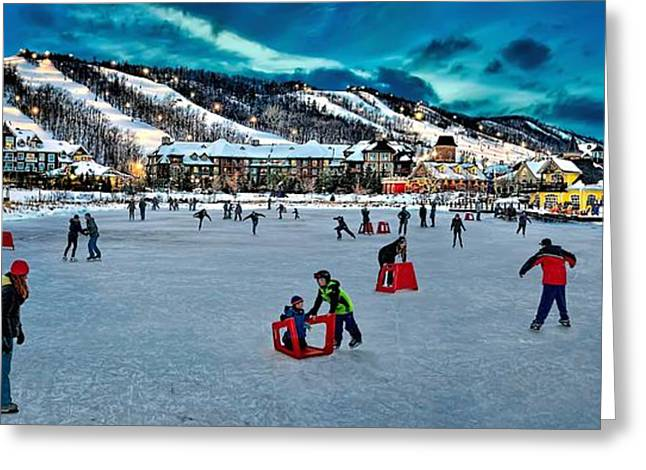 Ice-skating Greeting Cards - Skating on millpond Greeting Card by Jeff S PhotoArt