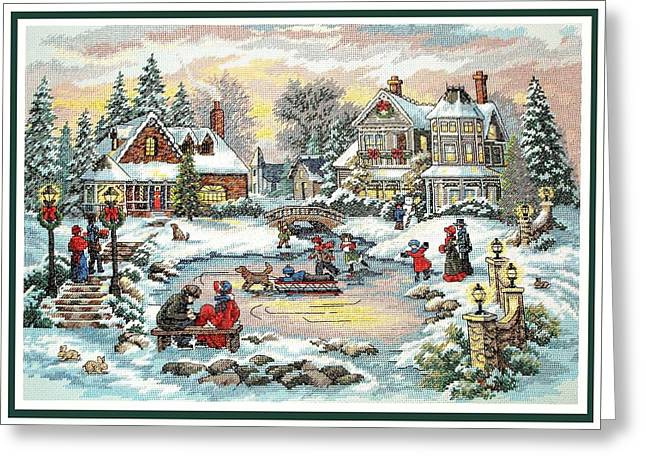 Ice-skating Greeting Cards - Skating on the Pond Greeting Card by Sharon Horn