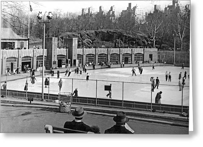 Ice-skating Greeting Cards - Skating Rink In Central Park Greeting Card by Underwood & Underwood
