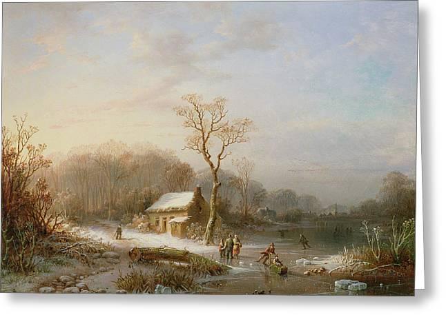 Winter Scenes Rural Scenes Paintings Greeting Cards - Skating scene Greeting Card by Henri Cleenewerck
