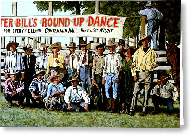 Bull Rider Greeting Cards - Skeeter Bills Round Up Greeting Card by Tom Roderick