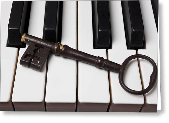 Skeleton Key On Piano Keys Greeting Card by Garry Gay