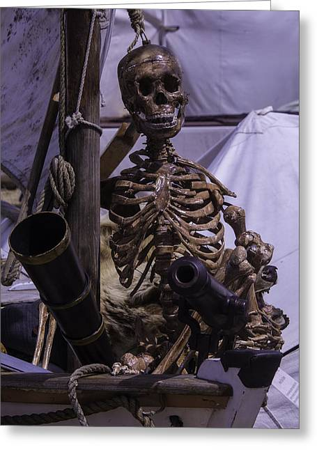 Pirates Greeting Cards - Skeleton With Bow Canon Greeting Card by Garry Gay