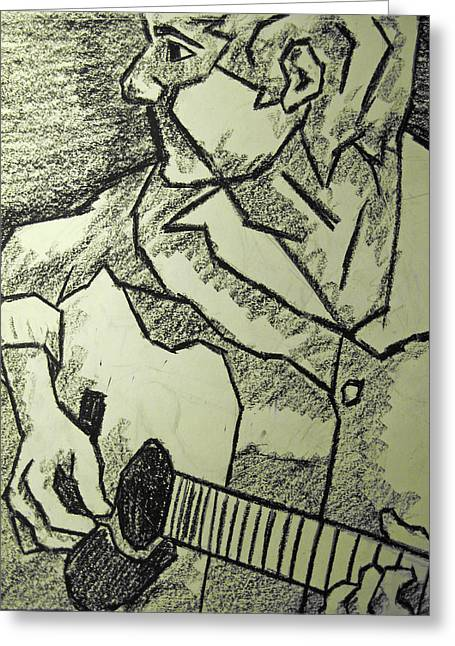 Oil Pastels Pastels Greeting Cards - Sketch - Guitar Man Greeting Card by Kamil Swiatek