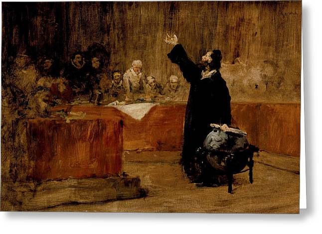 Sketch For Columbus Before The Council Of Salamanca Greeting Card by William Merritt Chase