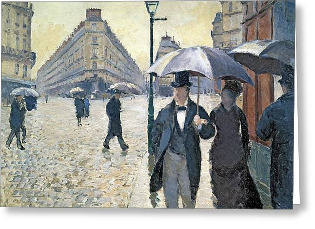 Rain Greeting Cards - Sketch for Paris a Rainy Day Greeting Card by Gustave Caillebotte